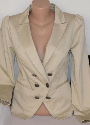 Брендовый бежевый пиджак жакет блейзер с карманами h&m этикетка