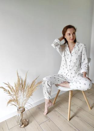 Муслиновая пижама рубашка и штаны вишенки