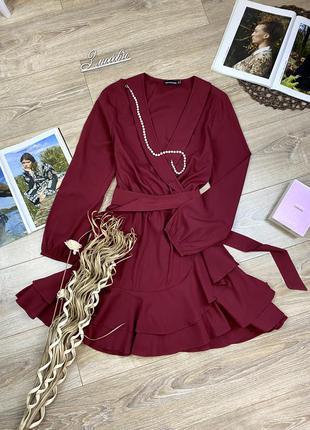 Plt шикарное эффектное игривое платье с рюшами и имитацией запаха