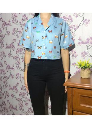 Короткая рубашка под шифон с бабочками