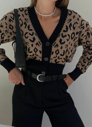 Кардиган с леопардовым принтом свободного размера