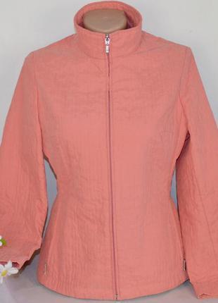 Брендовая коралловая куртка на молнии с карманами marks & spencer этикетка