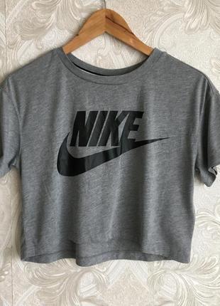 Серая майка поло тенниска футболка топ nike big logo оригинал