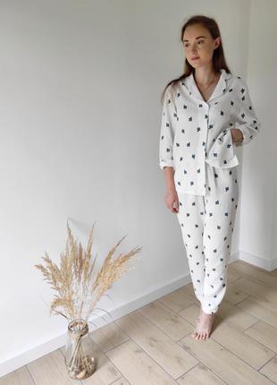 Женская пижама с рубашкой из муслина кактусы