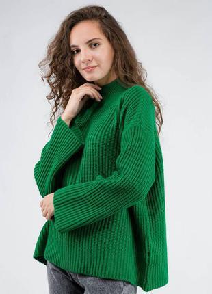 Зелёный свитер вязаный оверсайз oversize с горлом кофта