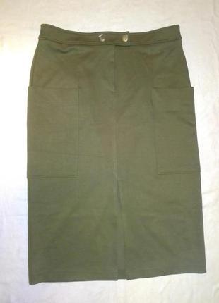 Прямая , стильная, юбка, разрез, зеленая, хаки, супер тренд 2021