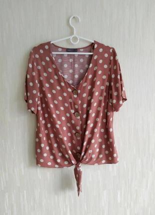 Фирменная футболка блуза на завязке в горох