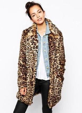 Брендовая леопардовая шуба полушубок куртка new look акрил этикетка