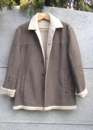 Графитовая теплая замшевая куртка на овчине оверсайз. next