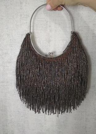 Винтажная нарядная сумка бисер ридикюль