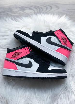 Jordan retro 1 pink/black кроссовки высокие розовые с черным