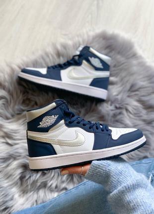 Jordan 1 retro navy blue/white кроссовки высокие