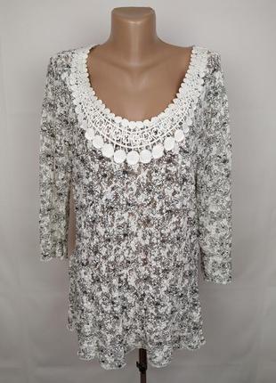 Блуза шикарная кружево гипюр тянется большой размер uk 20/48/3xl