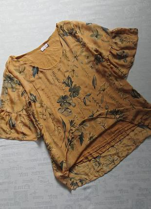 Мега красивая блуза (италия)/ летящая шелковая кофточка на подкладке, оверсайз