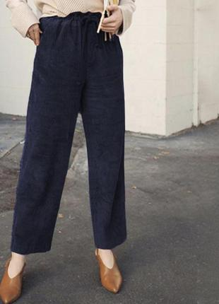 Фирменные укорочённые широкие вельветовые брюки на резинке