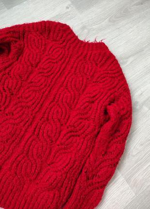 Вязанный свитер красный теплый базовый свитер женский zara reserved