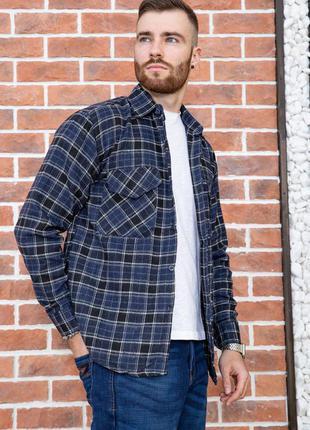 Рубашка мужская фланелевая цвет сине-черный