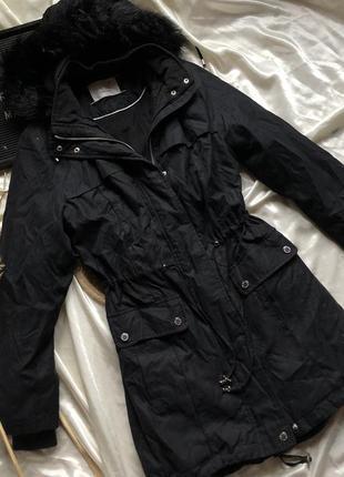 Чёрная парка куртка marks and spencer размер: s, можно м