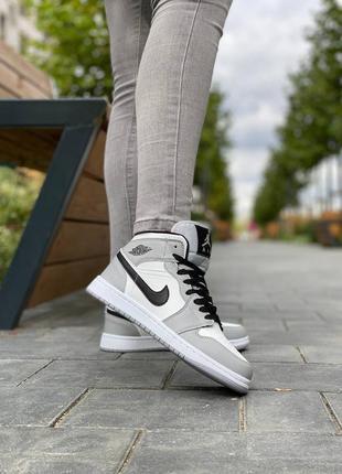 Женские высокие кожаные кроссовки на меху nike air jordan #найк