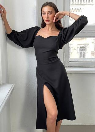 Нереальное женское чёрное платье с разрезом