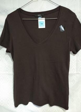 Новая футболка красивого шоколадного цвета  размер uk 14