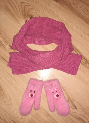 Набор перчатки + шарф
