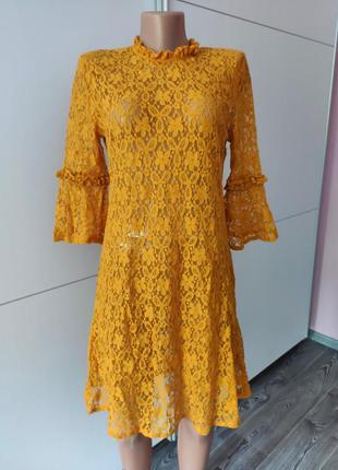 Платье гипюровое в сеточку полупрозрачное желтое market spurse s