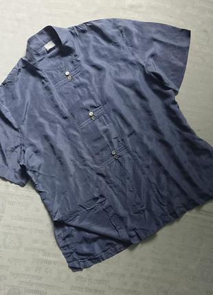 Оригинальная шелковая блуза с воротником-стойкой /летняя рубашка #100%шелк#