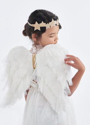 Крылья маскарадные ангельские белые 45см для костюма ангела амура +подарок