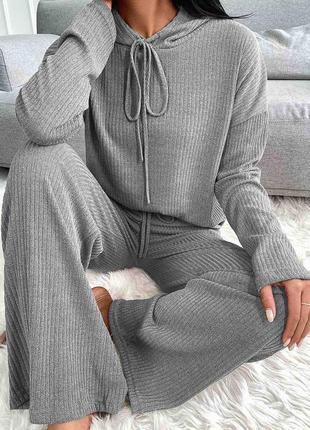 Женский спортивный костюм комплект худи с капюшоном штаны палаццо килоты клёш широкие серый