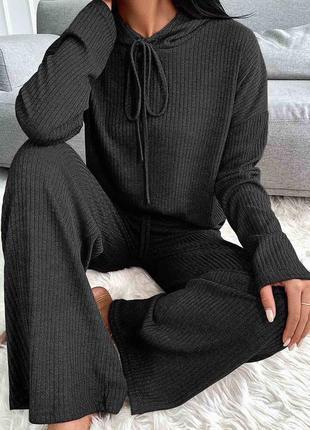 Женский спортивный костюм комплект худи с капюшоном штаны палаццо килоты клёш широкие чёрные