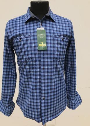 Тёплая мужская рубашка на флисе в клетку флисовая рубашка