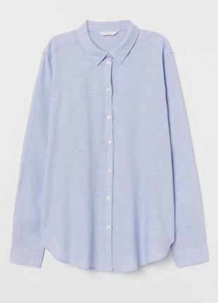 Голубая льняная рубашка h&m