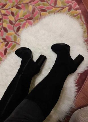 Сапоги текстиль под замшу черные на каблуке catwalk