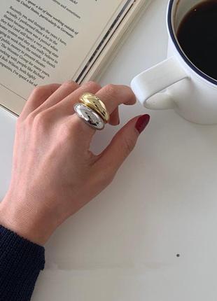 Кольцо колечко каблучка перстень стильное тренд под золото новое