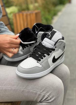 ❄️ зимние женские, мужские кроссовки на меху nike air jordan 1 high smoke grey