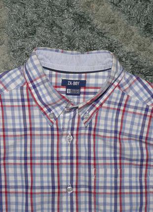 Рубашка хлопковая в клетку на 7-8 лет