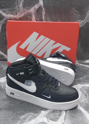 Подростковые кожаные кроссовки nike air force черные, кожаные, осенние
