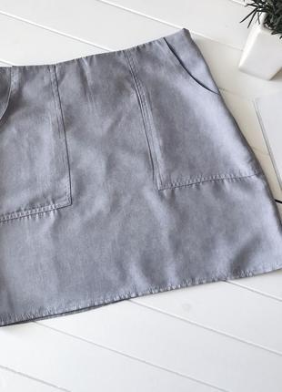 Замшевая юбка мини трапеция