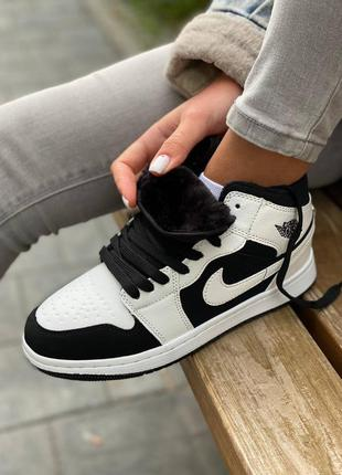 ❄️ зимние женские кроссовки на меху nike air jordan 1 high white/black winter ❄️