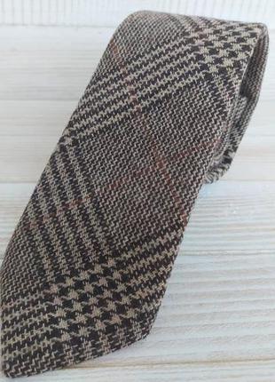 Коричневый галстук в клетку из шерсияной ткани major style