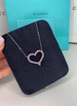 Подвеска кулон сердце из камней серебро камни фианиты розовые белые