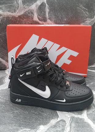 Подростковые термо кроссовки nike air force черные, кожаные, демисезонные