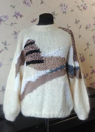 Пушистый теплый мохеровый фактурный свитер обьемный рукав
