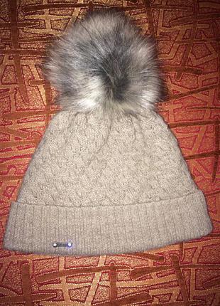 Зимняя вязаная шапка на флисе (нормального размера, не севшая!)