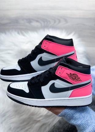 Женские стильные осенние кроссовки nike jordan retro 1 pink/black