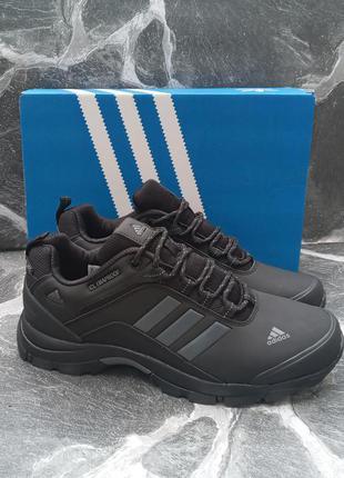 Мужские кроссовки adidas climaproof черные, кожаные, демисезонные