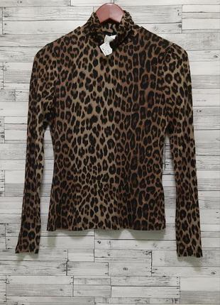 Эластичный леопардовый гольф водолазка кофта