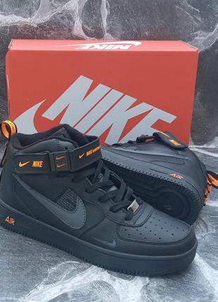Мужские термо кроссовки nike air force кожаные, черные, хайтопы