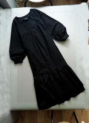 Черное длинное платье миди хлопковое оверсайз объемное свободное чорна сукня вільна